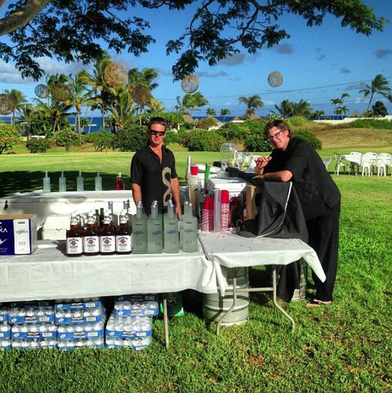 "If you've never been to a outdoor Hawaii wedding/celebration, this ""bar"" set up is all we need...& what you see setup is JUST pre-gaming! Hahaha!"