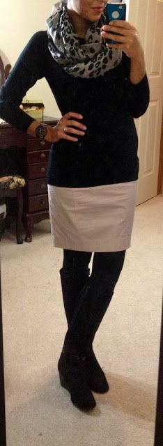 Ok, it's a skirt and tights but I can deal with this as a fall teacher outfit, different scarf though.