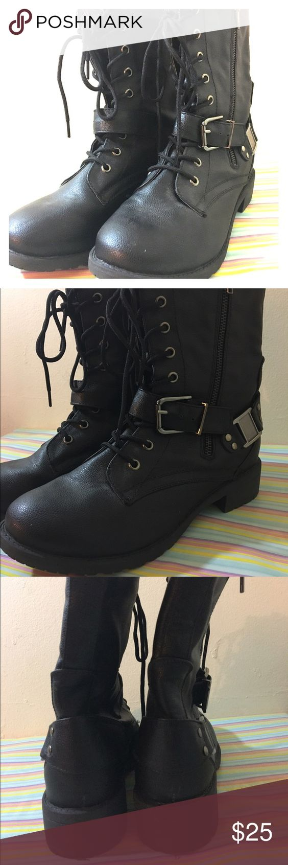 Black Combat Buckle Tie up Boots NWT