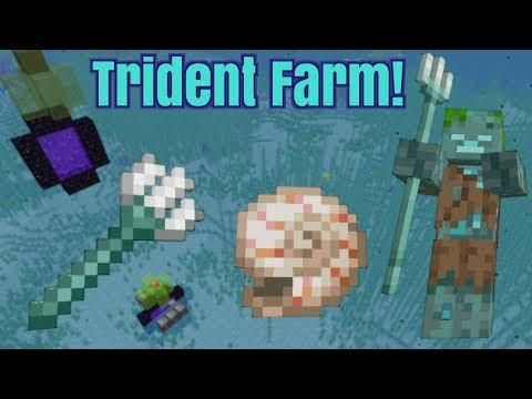 Simple Trident And Nautilus Farm Afk 1 13 Minecraft Minecraft Minecraft Banners Trident