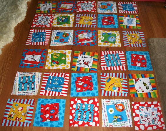 Dr. Seuss Quilt  I have a bunch of these fabrics! Too cool.