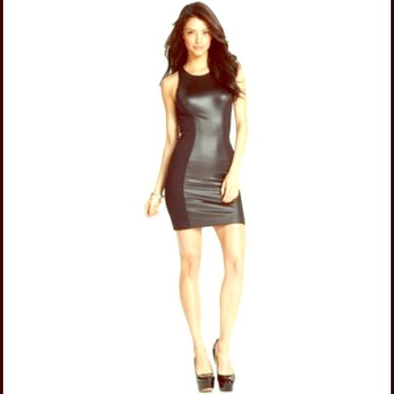 Guess dress sleeveless high neck Faux Leather Mini ❤💛sold out everywhere awesome Faux leather dress from Guess💛❤ sleeveless high neck mini dress❤💛Rayon/Spandex faux leather insets at front & back with a hidden back zipper💛❤ if ur 5'5 like me it hits about mid thigh❤💛 Worn only once & received many compliments💛❤ Guess Dresses