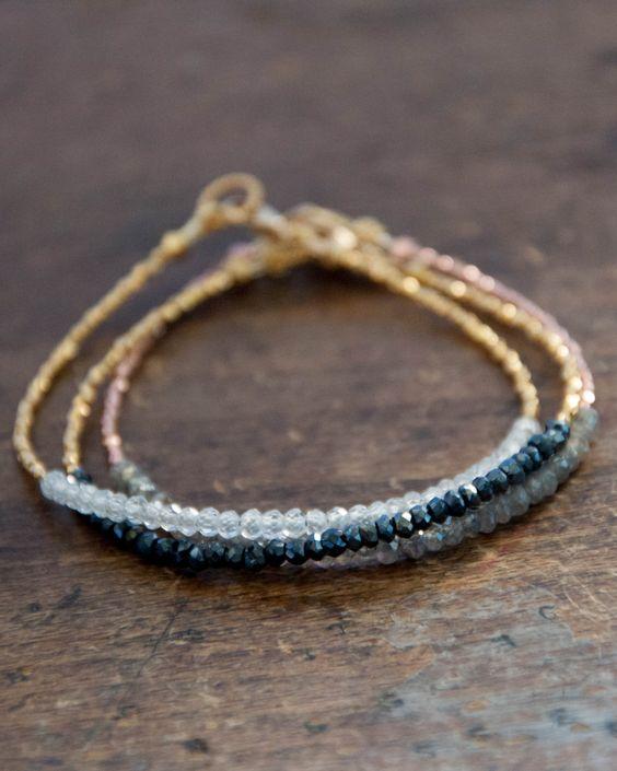 Handmade Minimalist Gold Vermeil Black Spinel Beaded Tennis Bracelet, Jewelry Gift for Friendship