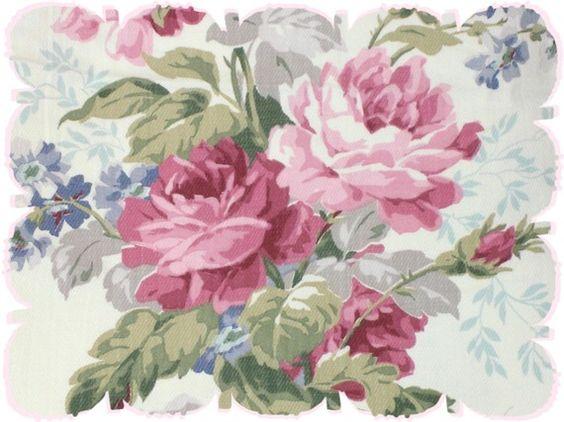 Pink Cabbage Rose Lavender Blue Lattice Vintage 1930s Nubby ...