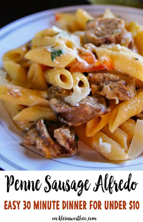 Penne Sausage Alfredo is an easy family dinner idea that costs less than $10 to make. Simple & quick, ready in less than 30 minutes. You can't beat it! via @KleinworthCo #ad: