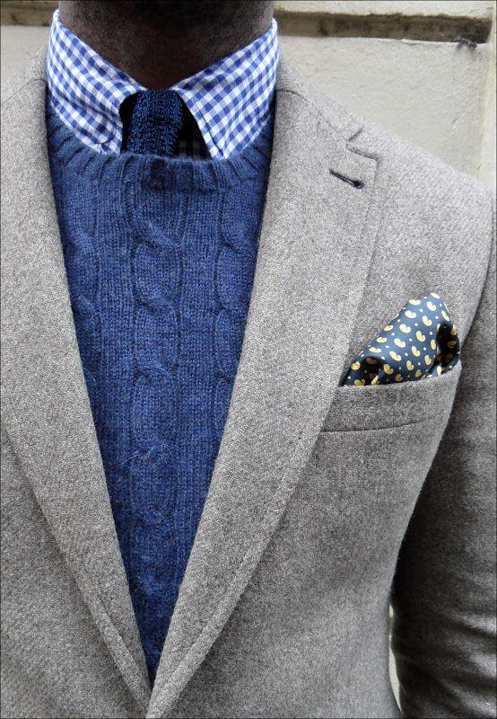 Check out my blog: Fashion Men, Men S Fashion, Mens Fashion, Mensfashion, Pocket Squares, Cable Knit, Blue Grey