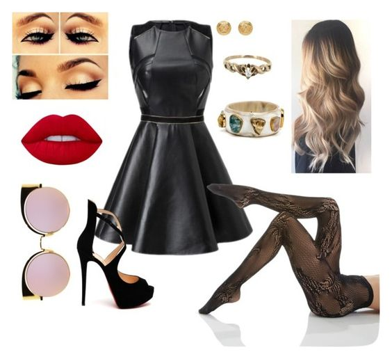 """""""Untitled #358"""" by karr20 on Polyvore featuring Vintage, Christian Louboutin, Natori, Lime Crime, Versace and Fendi"""