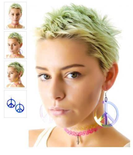 Peace And Love Iridescent Necklace & Earrings Set