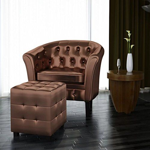 Artificial Leather Tub Chair Armchair With Footrest Brown Armchair