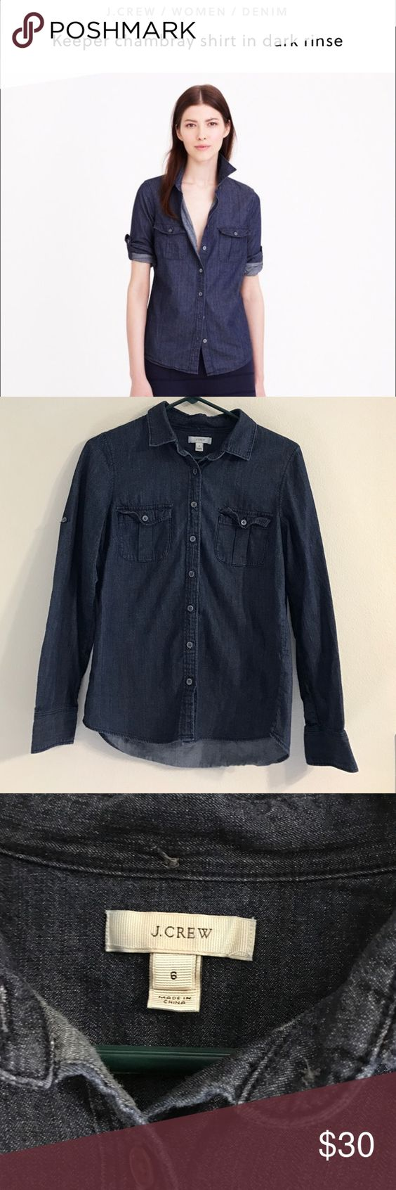 J. Crew Keeper Chambray In Dark Rinse J.Crew keeper chambray in dark rinse. Soft, classic button down. Size 6 J. Crew Tops Button Down Shirts