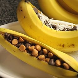 BANANA BOATS!!! Slice down the middle, stuff with chocolate chips/coconut/whatever floats your boat, wrap in foil, & throw on the grill!!! So delish. @Michaela Walton