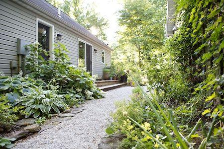 Narrow garden between house and garage