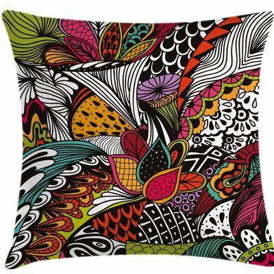 Kess InHouse Louise Flower I Black Multicolor Round Floor Pillow 26