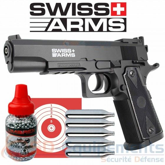 Pack Pistolet Co2 Swiss Arms P1911 Match 4 5mm 2 2 Joules Pistolet Lampe Tactique Bille Acier