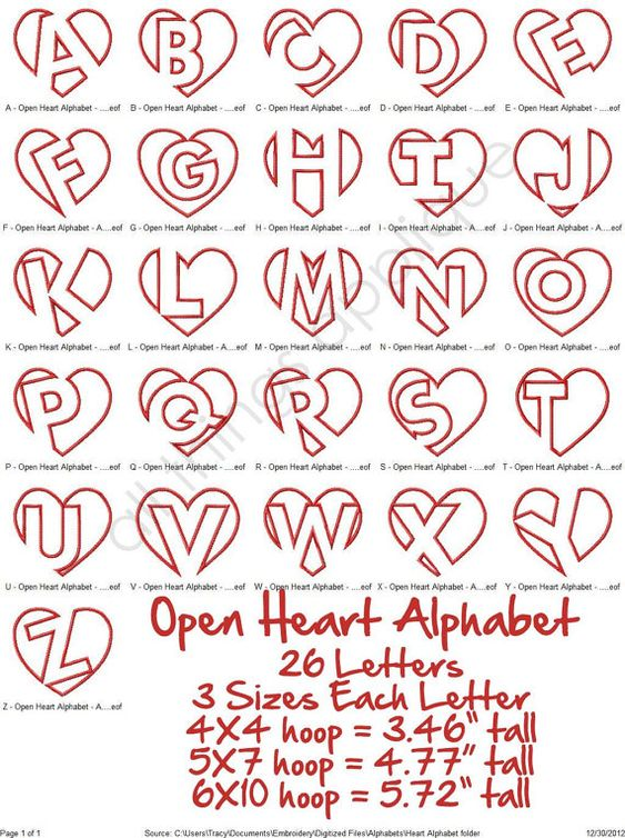 Open heart applique alphabet letters sizes