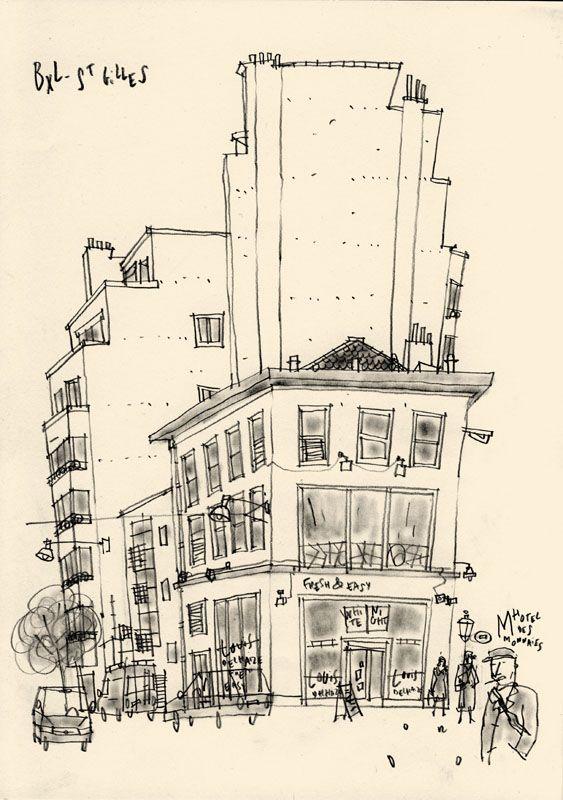 Bruxelles St Gilles Metro Hotel Des Monnaies Magasin Delhaize Immeuble Annees 30 Croquis Urbain Dessin Noir Et Blanc Croquis