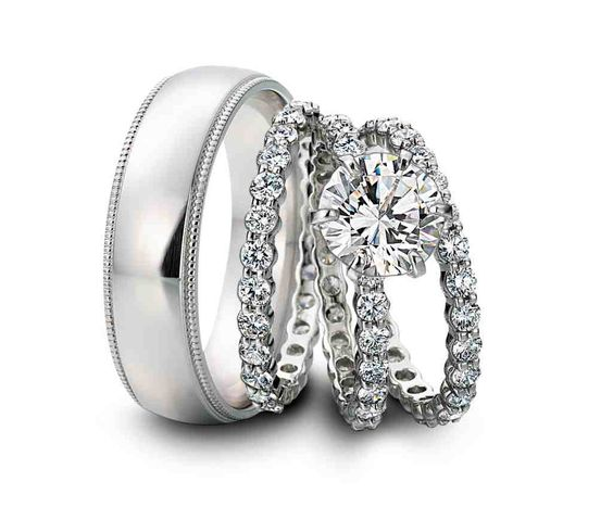 Awesome  best his and hers wedding rings images on Pinterest Wedding ring set Rings and Couple rings