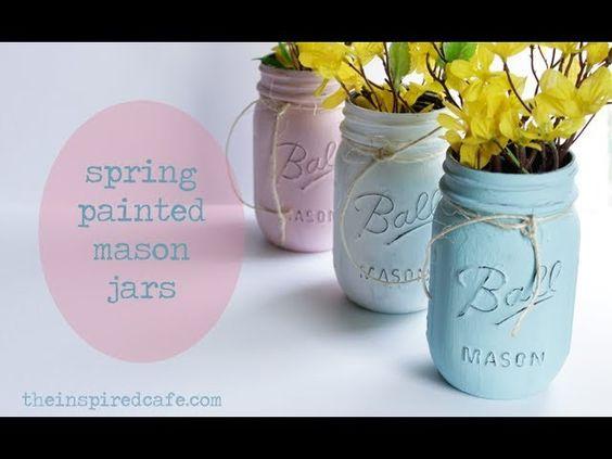 Easy DIY Mason Jar Decor - Painted for Spring!