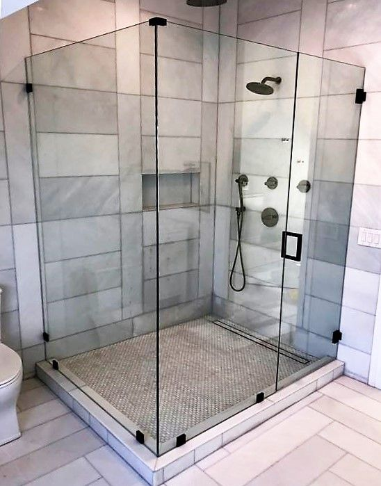 Frameless Corner Unit With Wall Mounted Hinges In Gloss Black Frameless Shower Doors Corner Shower Doors Glass Shower Enclosures