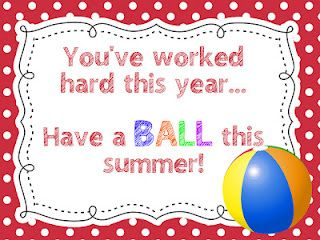 """Have a Ball""- End of the Year Gift Tag for a beach ball."