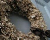 Coffee filter recycled into a beautiful wreath Filtre a café recyclé en très belle couronne