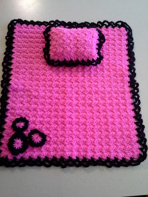 Free Crochet Pattern For American Girl Sleeping Bag : Crocheted American Girl doll blanket and pillow ...