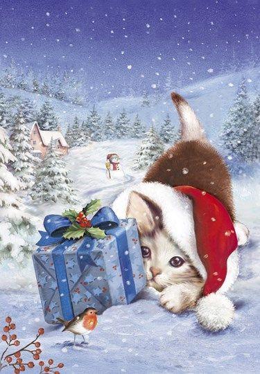 ** qu'est ce qu' il ne faut pas faire pour aider les autres, bisous et bonne semaine ** - Kitten With Gift and Mistletoe: