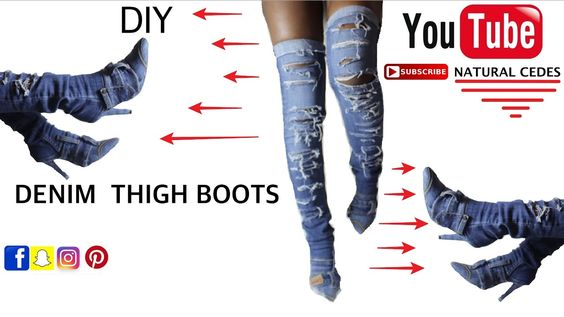 diy denim thigh boots inspired by k d i y