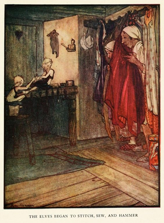 Rie Cramer ~ The Elves & The Shoemaker ~ Grimm's Fairy Tales ~ 1927 ~ via    The elves began to stitch, sew, and hammer.: