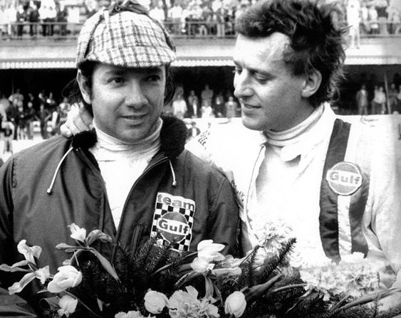 BRM pedro rodriguez | Pedro Rodriguez (left) and Jackie Oliver with the winner´s wreath