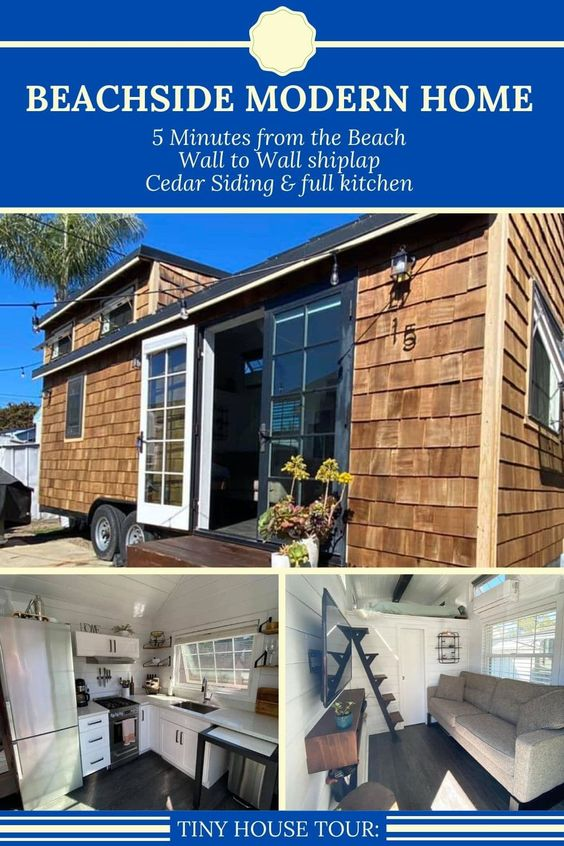 Relax In Comfort Steps From The Beach In This Modern Country Chic Tiny Home The Gorgeous Wood Siding And White Shiplap Int