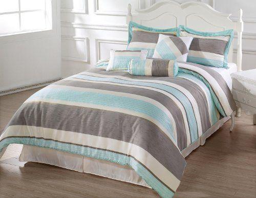 BACHELOR 7pc Comforter Set Light Blue, Beige, Gray Luxury Stripe Bed-In-A-Bag Queen Size Bedding