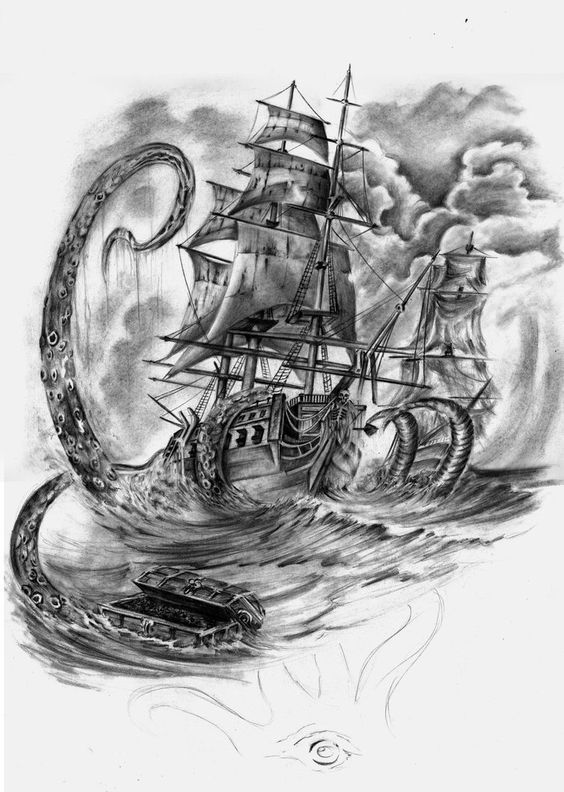 Pin By Steffen Baldwin On Tattoo Ideas For Misha Kraken Tattoo Pirate Ship Tattoos Ship Tattoo Sleeves
