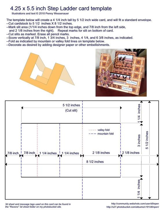 "Card Templates :: 4.25 x 5.5 step ladder card.  NOTE: The links are ""funny"" on this site, and seem to take you to a random page each time. This template is on page 33-35"