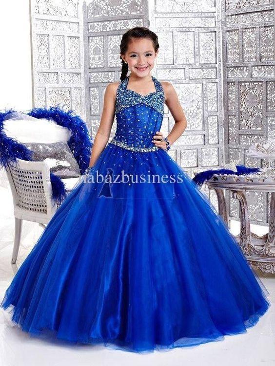 NEW Blue Flower Girl Dress Little Bride Wedding party Dress ...