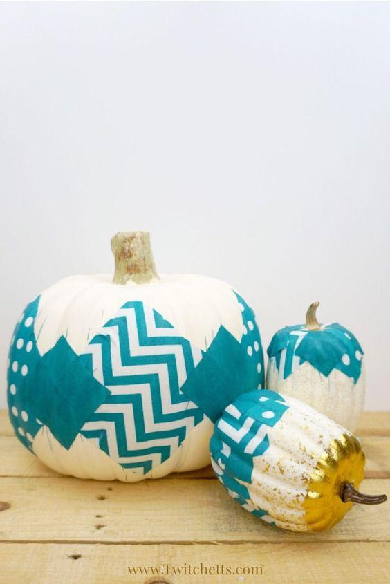 teal fabric pumpkin craft