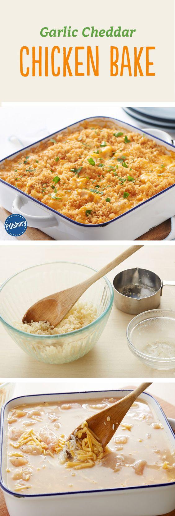 Garlic Cheddar Chicken Bake   Recipe   Cheesy Rice ...