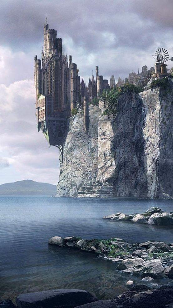 Edge Of A City Castle Paysage Fantastique Paysage Imaginaire Chateau Fantastique