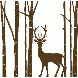 Silhouette Design Store - View Design #99982: birch tree with one deer