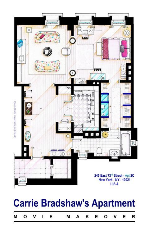 How Tv S Greatest Apartments Are Really Laid Out Carrie Bradshaw Apartment Apartment Floor Plans Apartment Layout