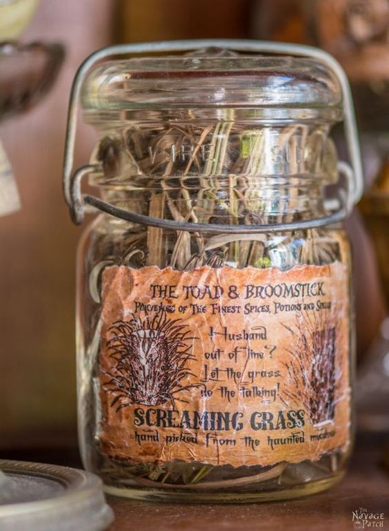 Clever Apothecary Jars {and Free Printable Labels} for halloween or gift giving to that special wiccan