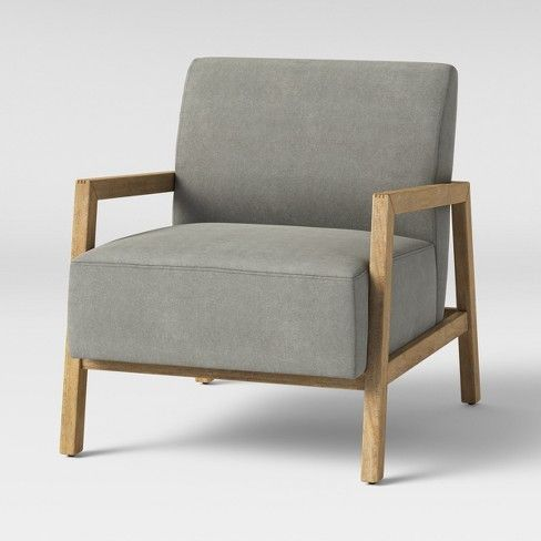 Bedford Rustic Wood Arm Accent Chair Canvas Gray Threshold Target Wood Arm Chair Rustic Armchair Upholstered Bedroom Chair