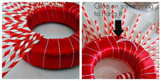 making the striped straw wreath