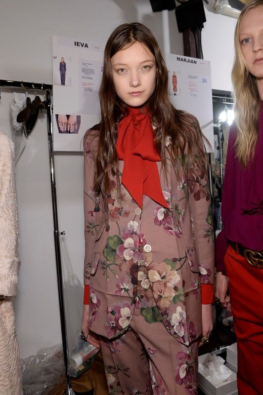Floral suit and red bow backstage at Gucci AW15 MFW. See more here: http://www.dazeddigital.com/fashion/article/23825/1/gucci-aw15-livestream
