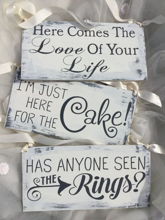 Ring Bearer sign set of 3 Here comes the bride by KerriArt on Etsy