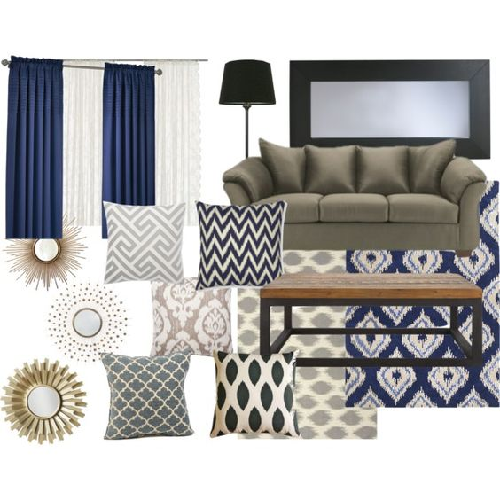 Living room color schemes grey and navy rug on pinterest for Navy blue family room