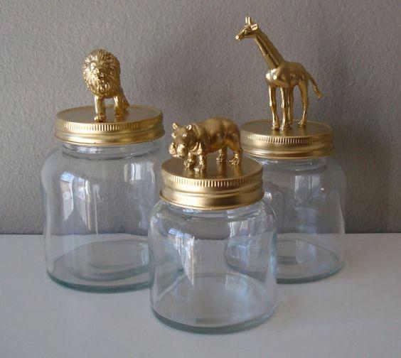 home decor - storage jars: gold, lion, giraffe, hippo