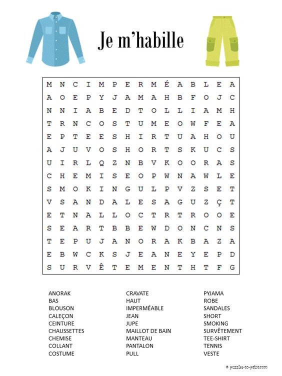 Here is a French word search featuring clothing vocabulary. It is free for you to print along with a lot of other French puzzles. 1.1.N.SL.i Ask for and obtain information in everyday situations in the target language about time, place, price, size, relating to restaurants, stores, transportation, and services