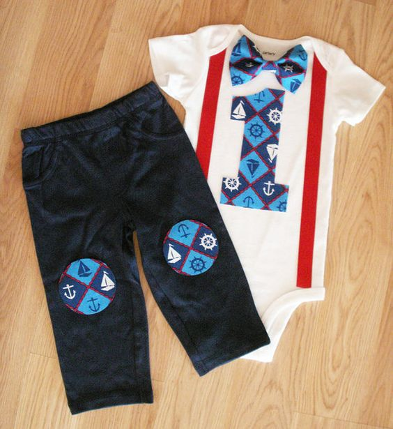 Nautical birthday Nautical party Baby boy first birthday outfit Bowtie and suspenders outfit Cakesmash Anchor bowtie Nautical babyshower boy on Etsy, $38.50