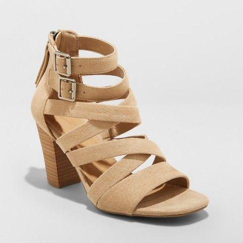 Strap heels, Caged heels, Faux suede heels